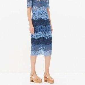Sandro Jonas Blue Lace Pencil Skirt Midi Straight